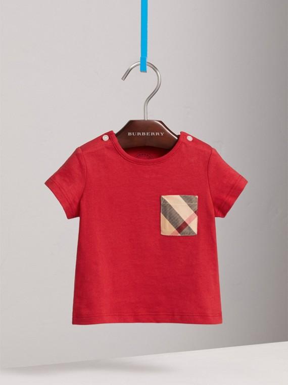 T-shirt in cotone con taschino con motivo tartan (Rosso Militare)