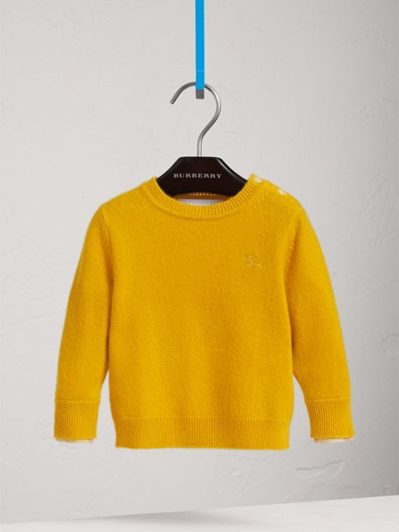 Check Detail Cashmere Sweater in Amber Yellow