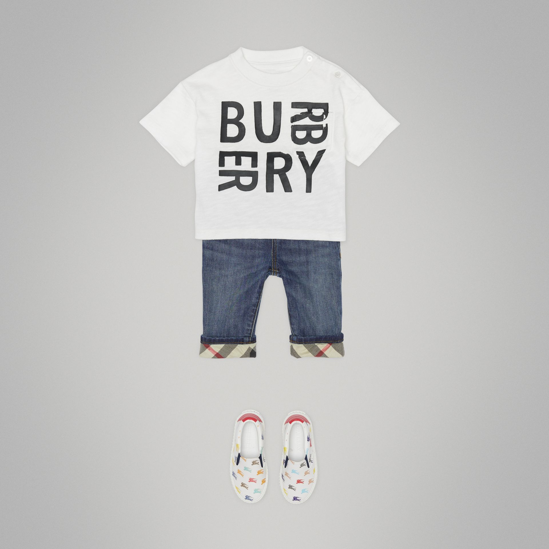 Relaxed Fit Pull-on Stretch Denim Jeans in Mid Indigo - Children | Burberry United States - gallery image 3