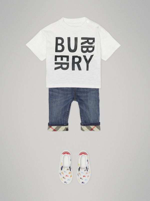 Relaxed Fit Pull-on Stretch Denim Jeans in Mid Indigo - Children | Burberry - cell image 3