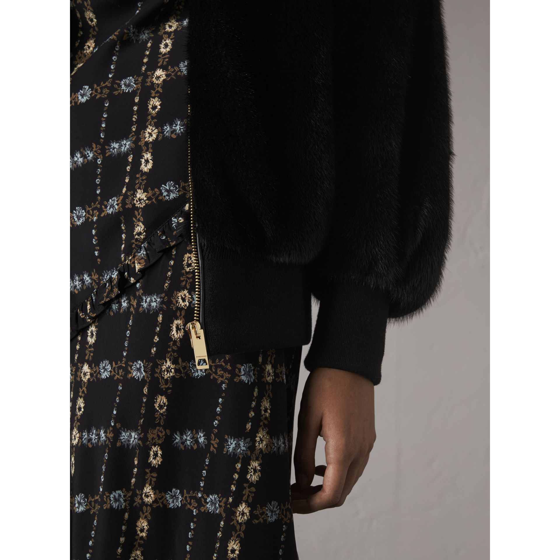 Mink Bomber Jacket in Black - Women | Burberry - gallery image 2