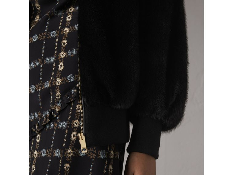 Mink Bomber Jacket in Black - Women | Burberry - cell image 1