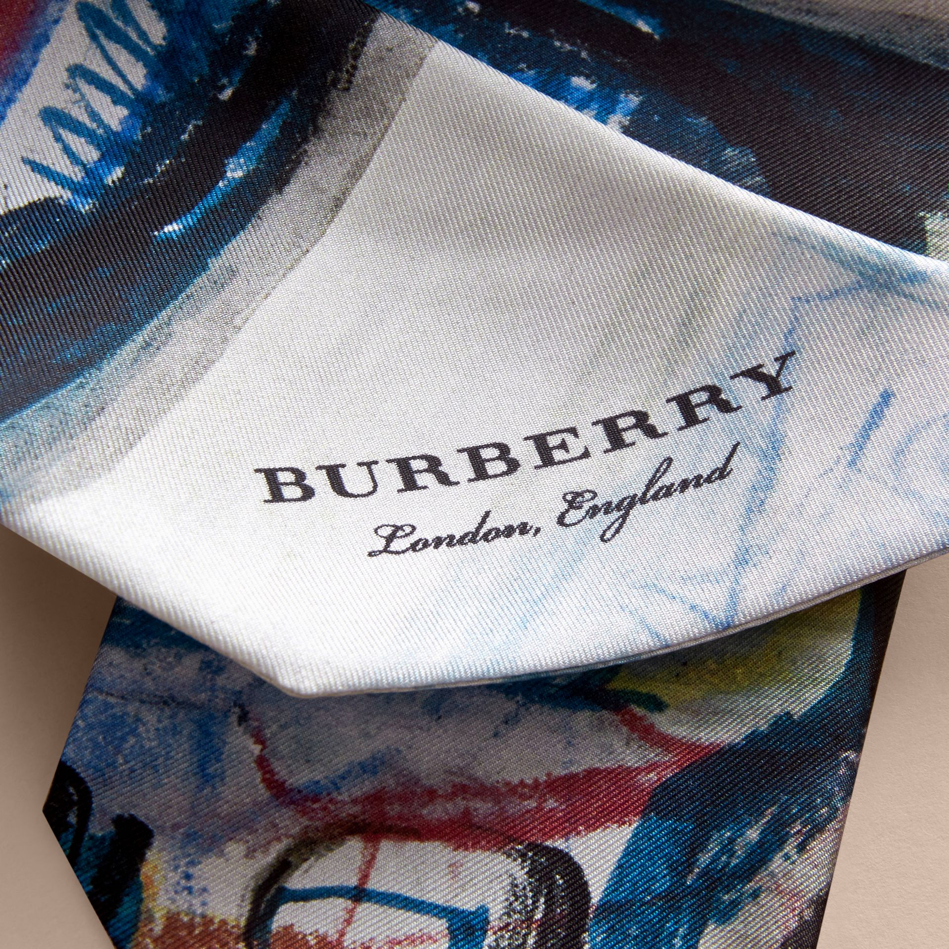 Reclining Figure: Bunched Print Silk Slim Scarf in Navy - Women | Burberry - gallery image 1