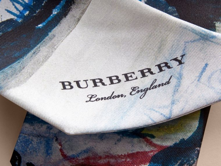 Reclining Figure: Bunched Print Silk Slim Scarf in Navy - Women | Burberry - cell image 1