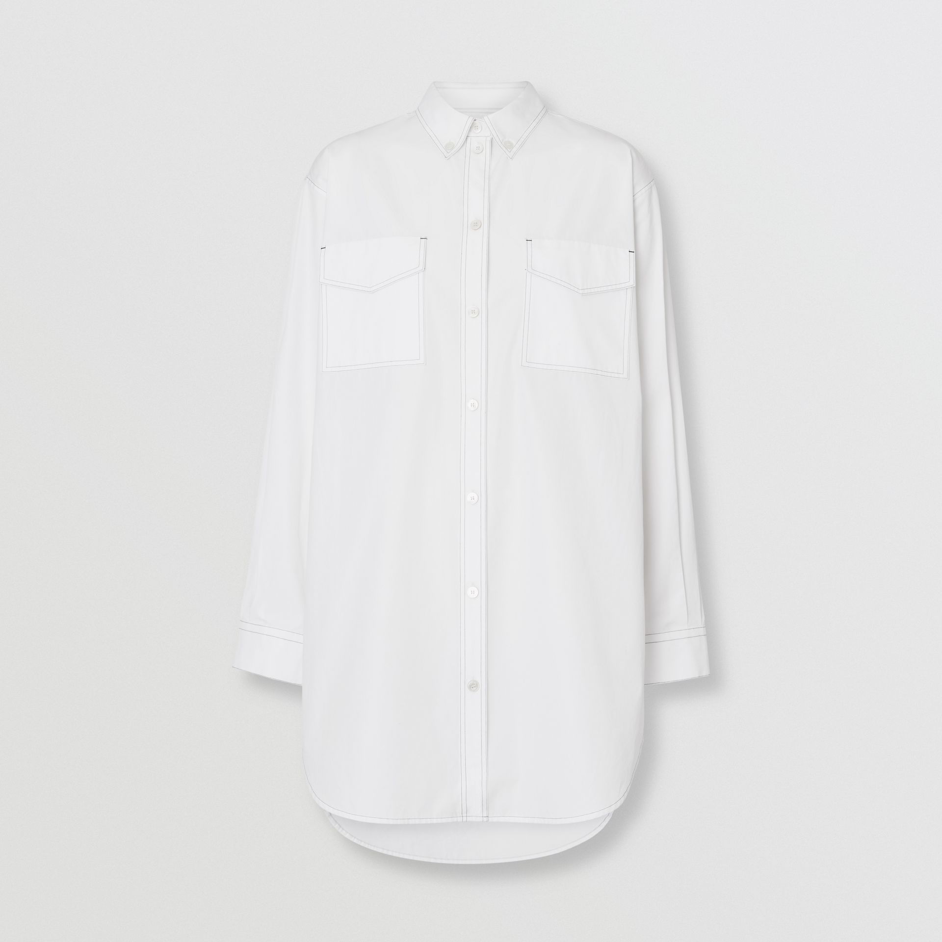 Topstitch Detail Cotton Poplin Shirt Dress in White - Women | Burberry - gallery image 3