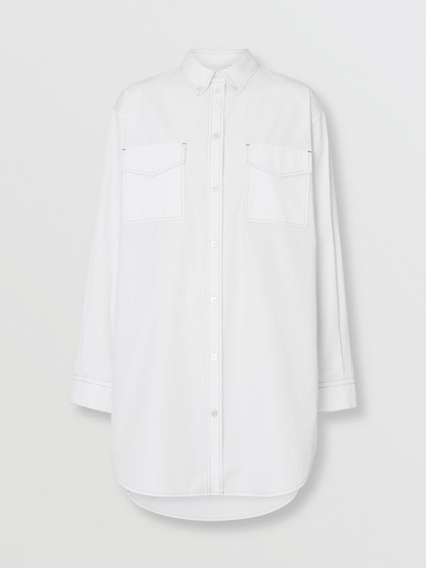Topstitch Detail Cotton Poplin Shirt Dress in White - Women | Burberry - cell image 3