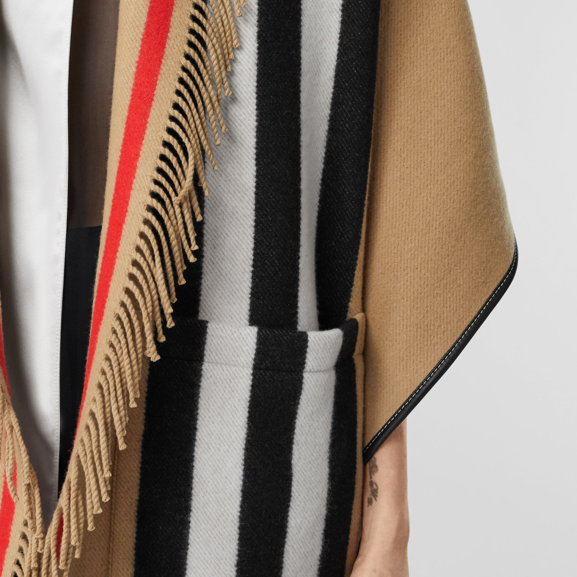 Icon Stripe Wool Cashmere Jacquard Cape in Archive Beige - Women | Burberry - gallery image 4