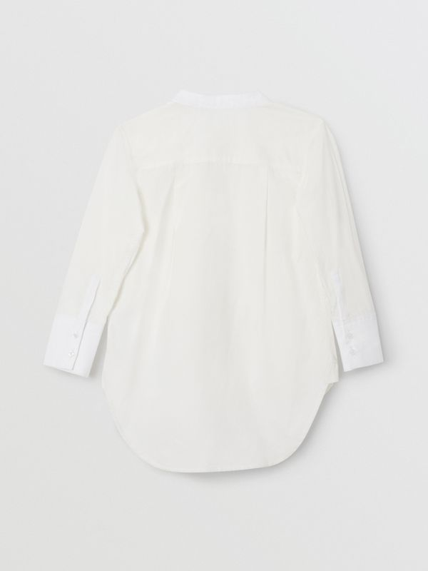 Bow Tie Detail Stretch Cotton Poplin Shirt in White | Burberry Canada - cell image 3