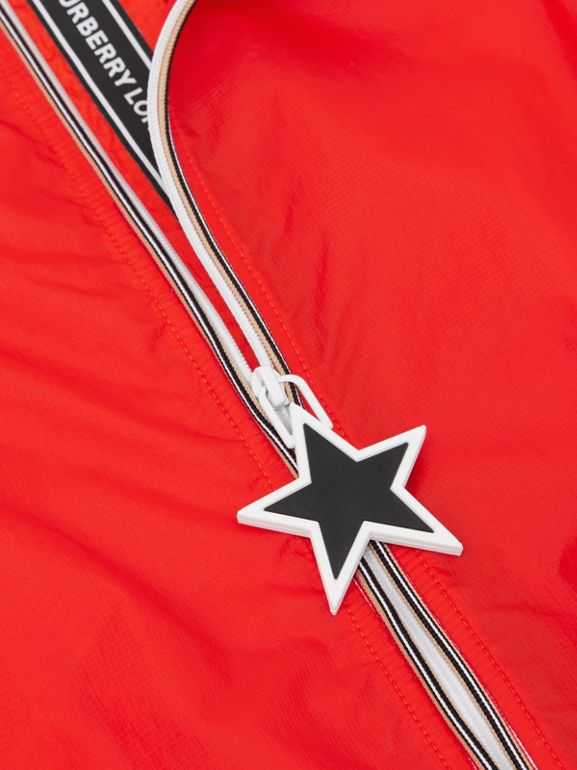Star Detail Logo Print Lightweight Hooded Jacket in Vermilion Red | Burberry - cell image 1