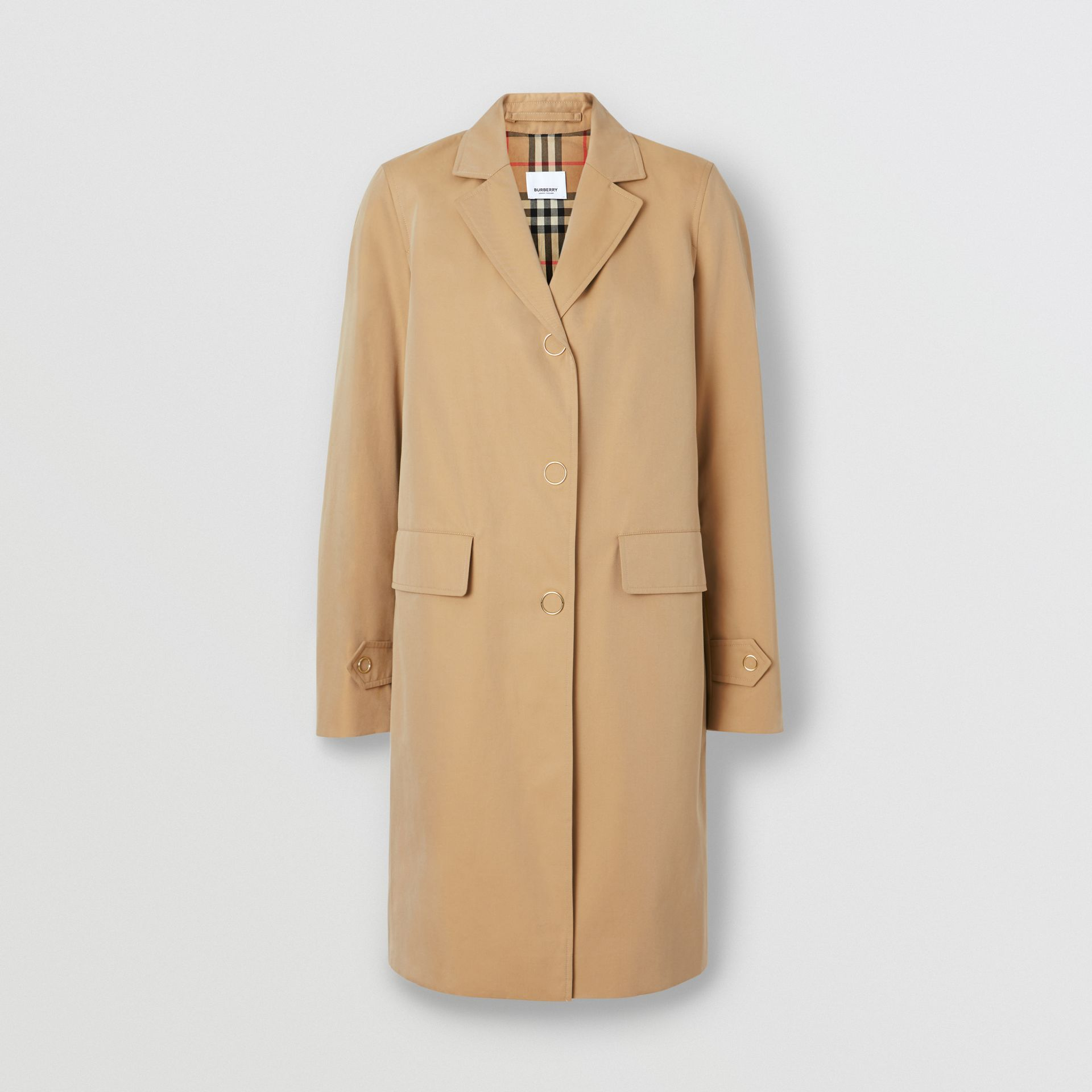 Press-stud Detail Cotton Gabardine Lab Coat in Honey - Women | Burberry - gallery image 3