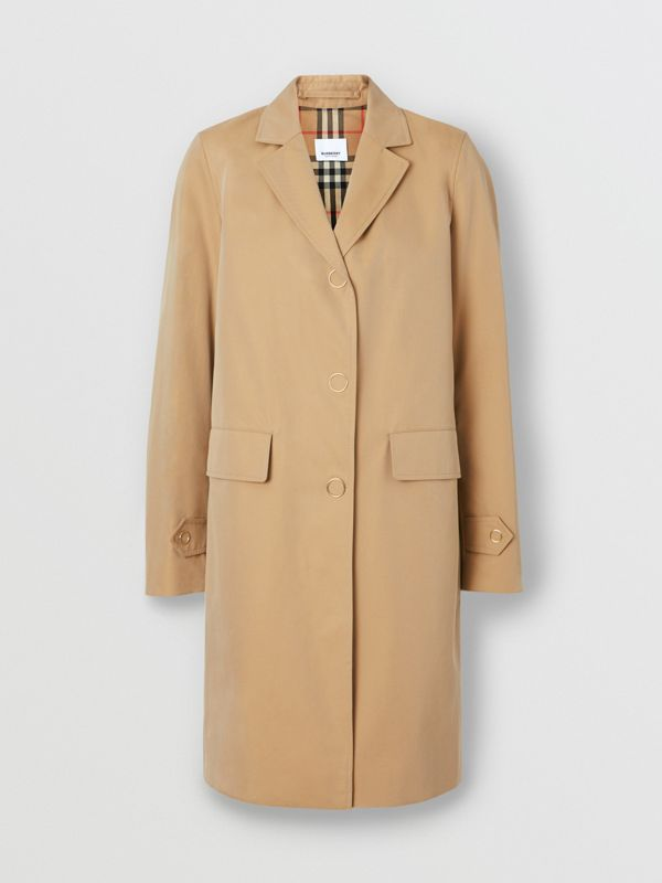Press-stud Detail Cotton Gabardine Car Coat in Honey - Women | Burberry - cell image 3