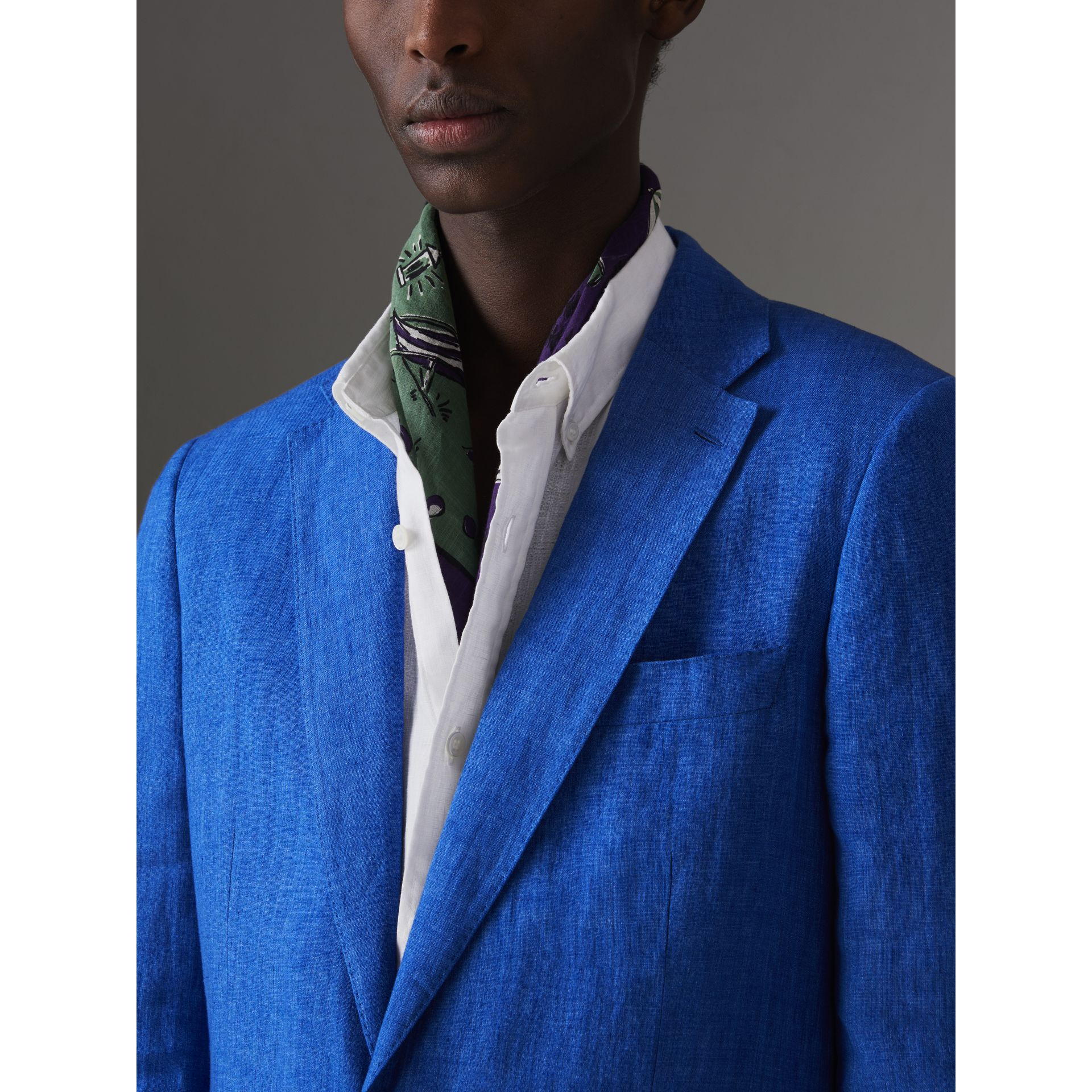Soho Fit Linen Tailored Jacket in Violet Blue - Men | Burberry United Kingdom - gallery image 1