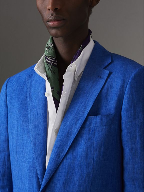 Soho Fit Linen Tailored Jacket in Violet Blue - Men | Burberry United Kingdom - cell image 1