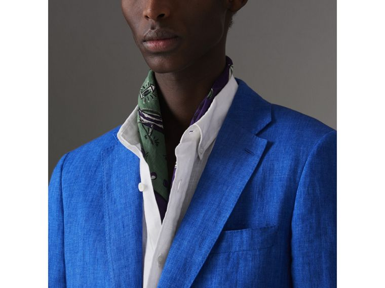 Soho Fit Linen Tailored Jacket in Violet Blue - Men | Burberry Australia - cell image 1