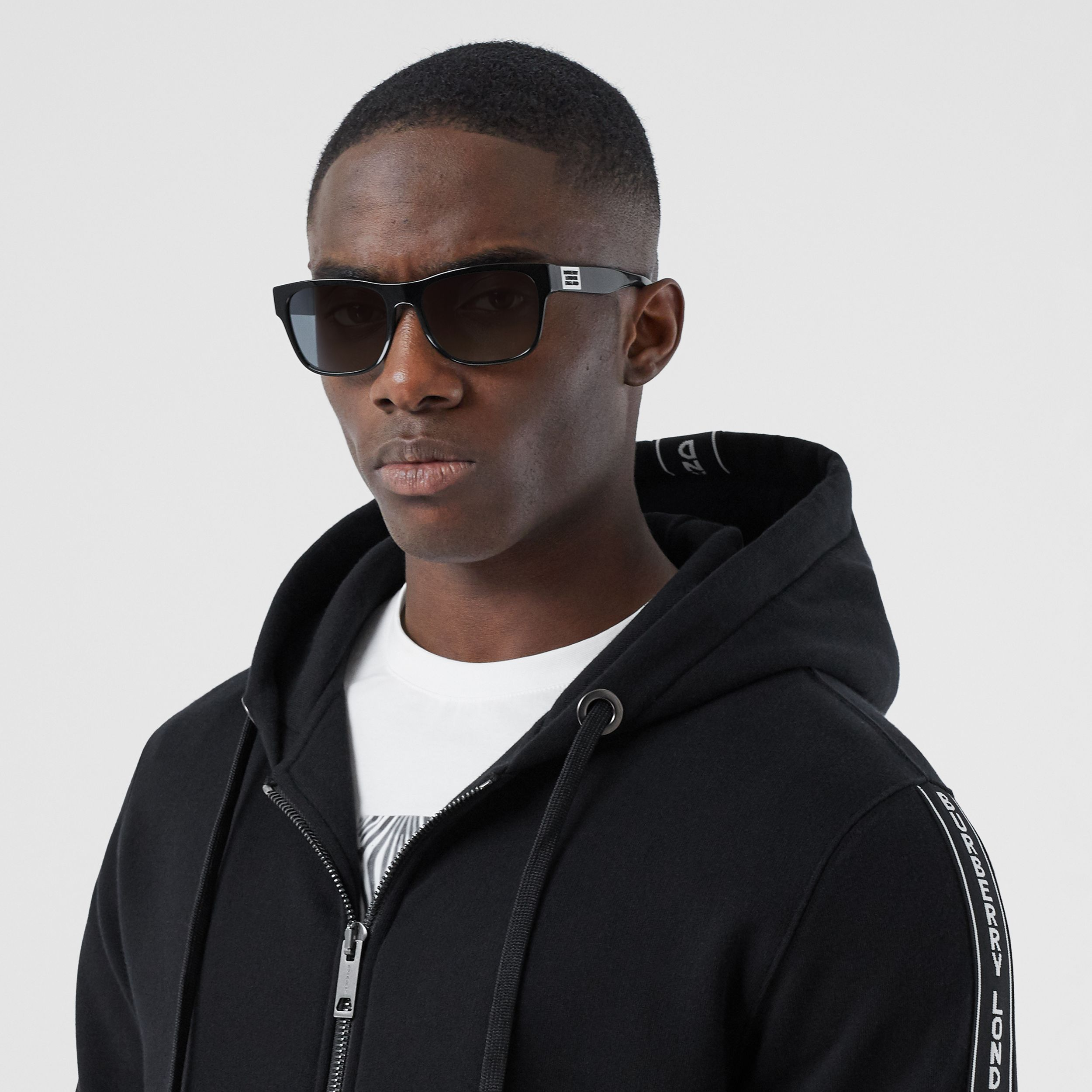 Logo Tape Cotton Hooded Top in Black - Men | Burberry Australia - 2