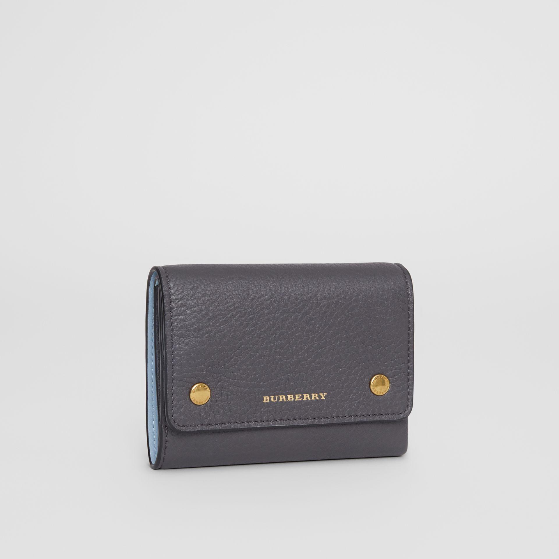 Small Leather Folding Wallet in Charcoal Grey - Women | Burberry - gallery image 3