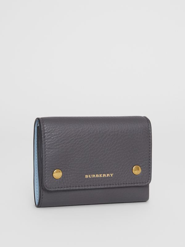 Small Leather Folding Wallet in Charcoal Grey - Women | Burberry - cell image 3