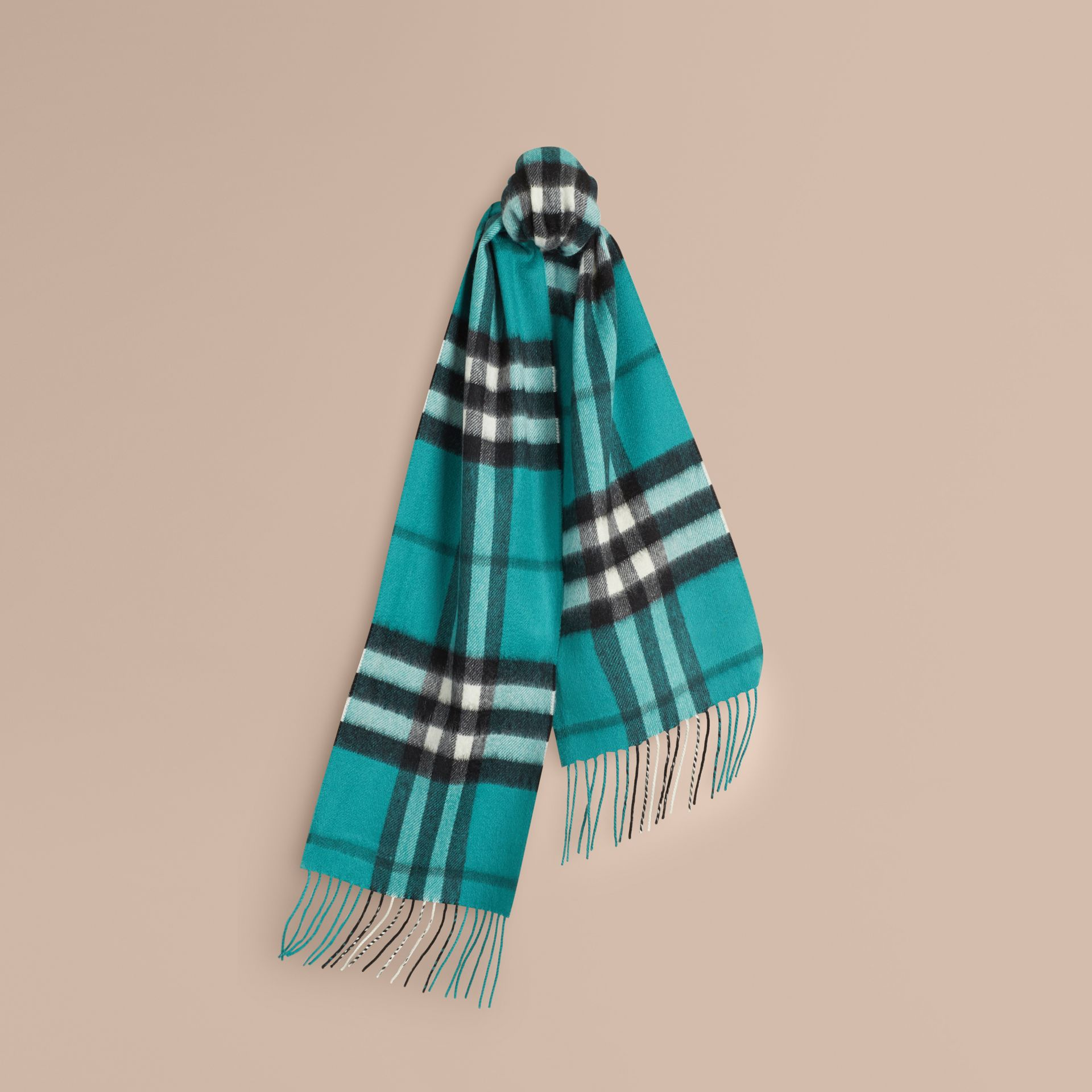 Dark aqua The Mini Classic Cashmere Scarf in Check Dark Aqua - gallery image 5