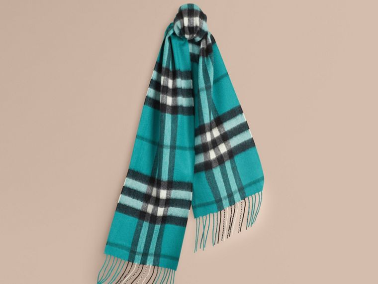 Dark aqua The Mini Classic Cashmere Scarf in Check Dark Aqua - cell image 4