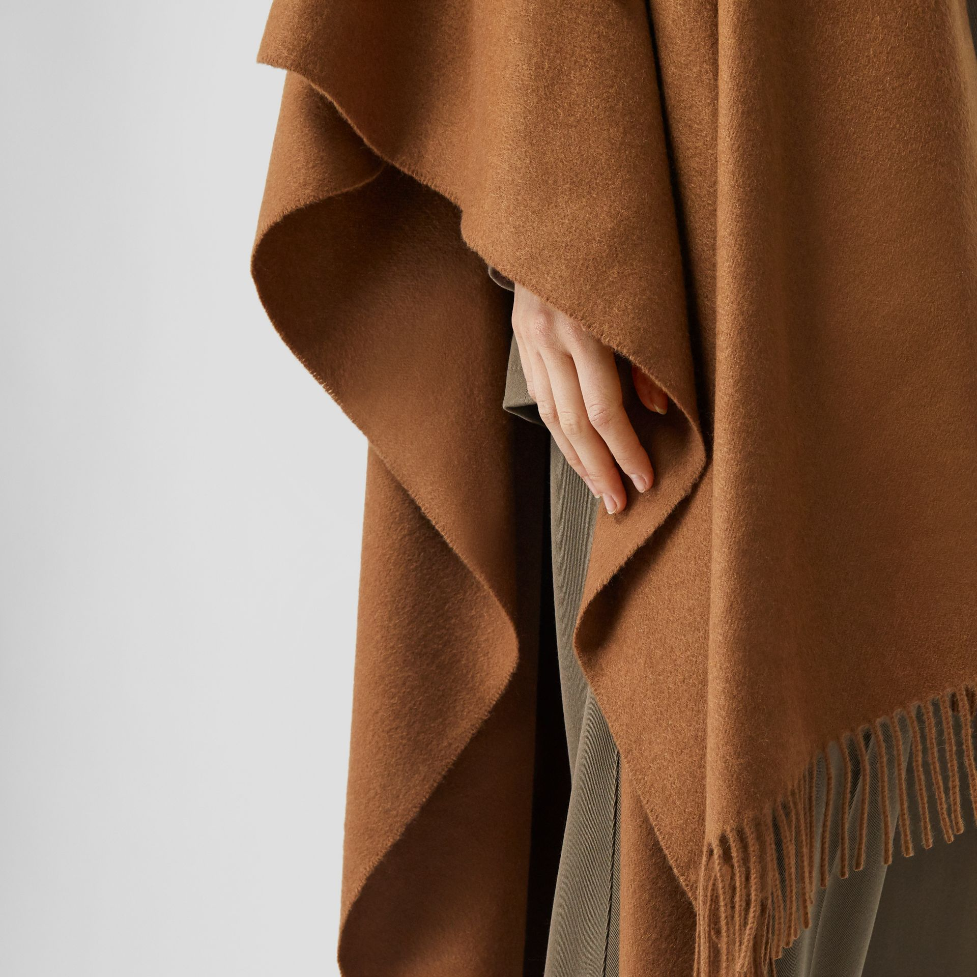 Detachable Monogram Print Scarf Cashmere Cape in Fern - Women | Burberry - gallery image 4