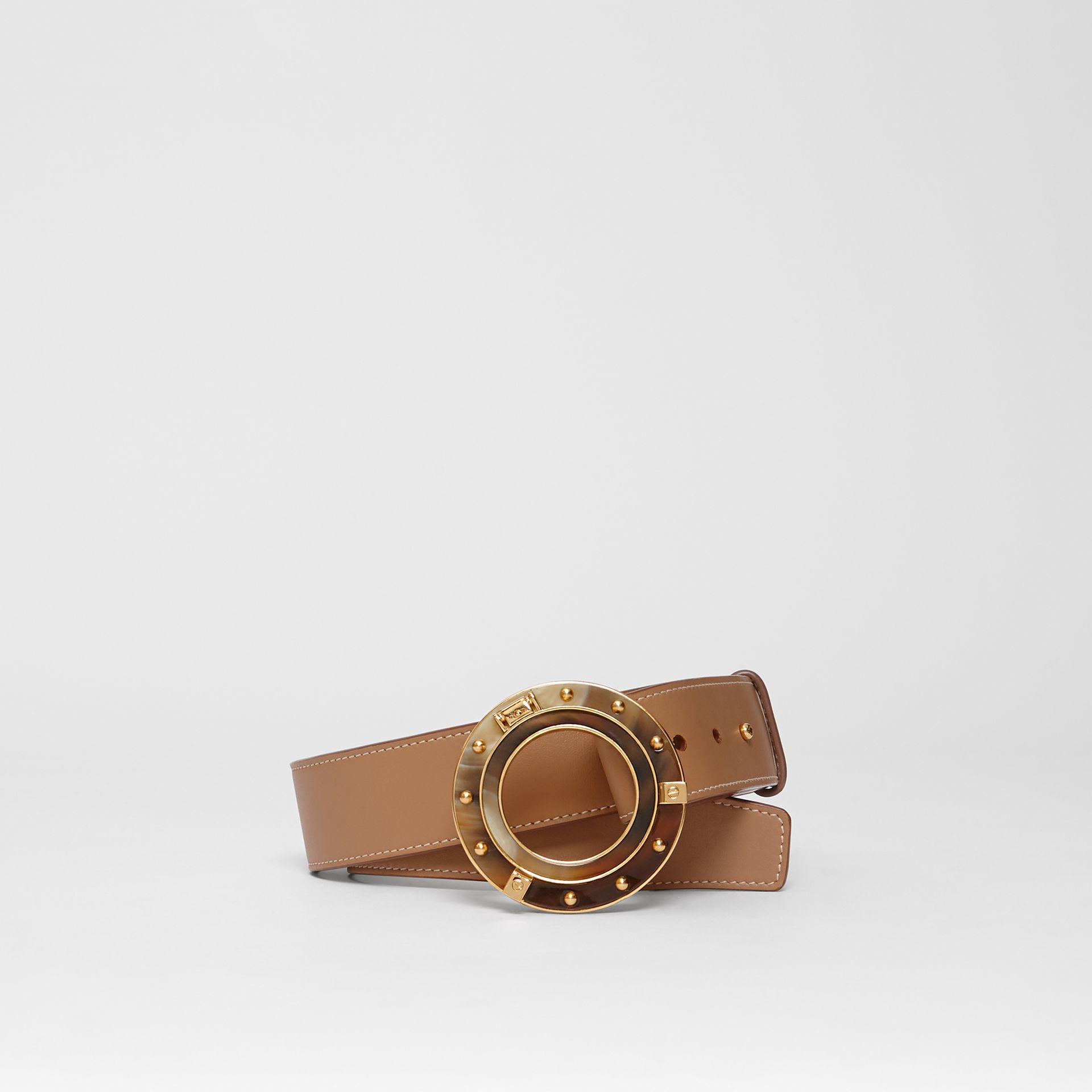 Porthole Buckle Leather Belt in Light Camel - Women | Burberry - gallery image 0