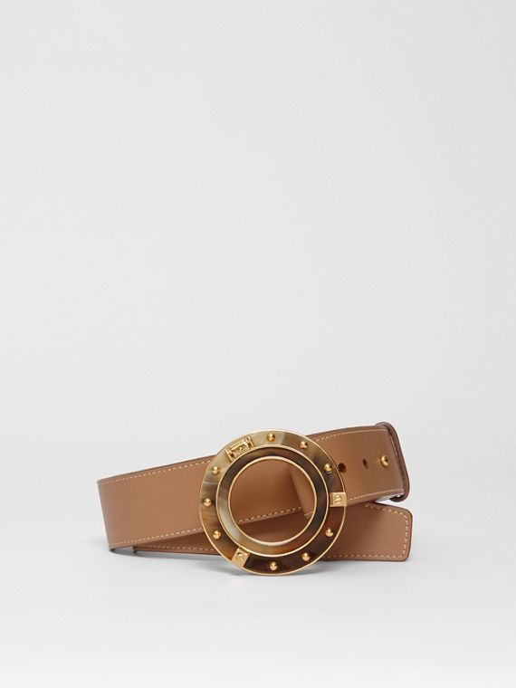 Porthole Buckle Leather Belt in Light Camel