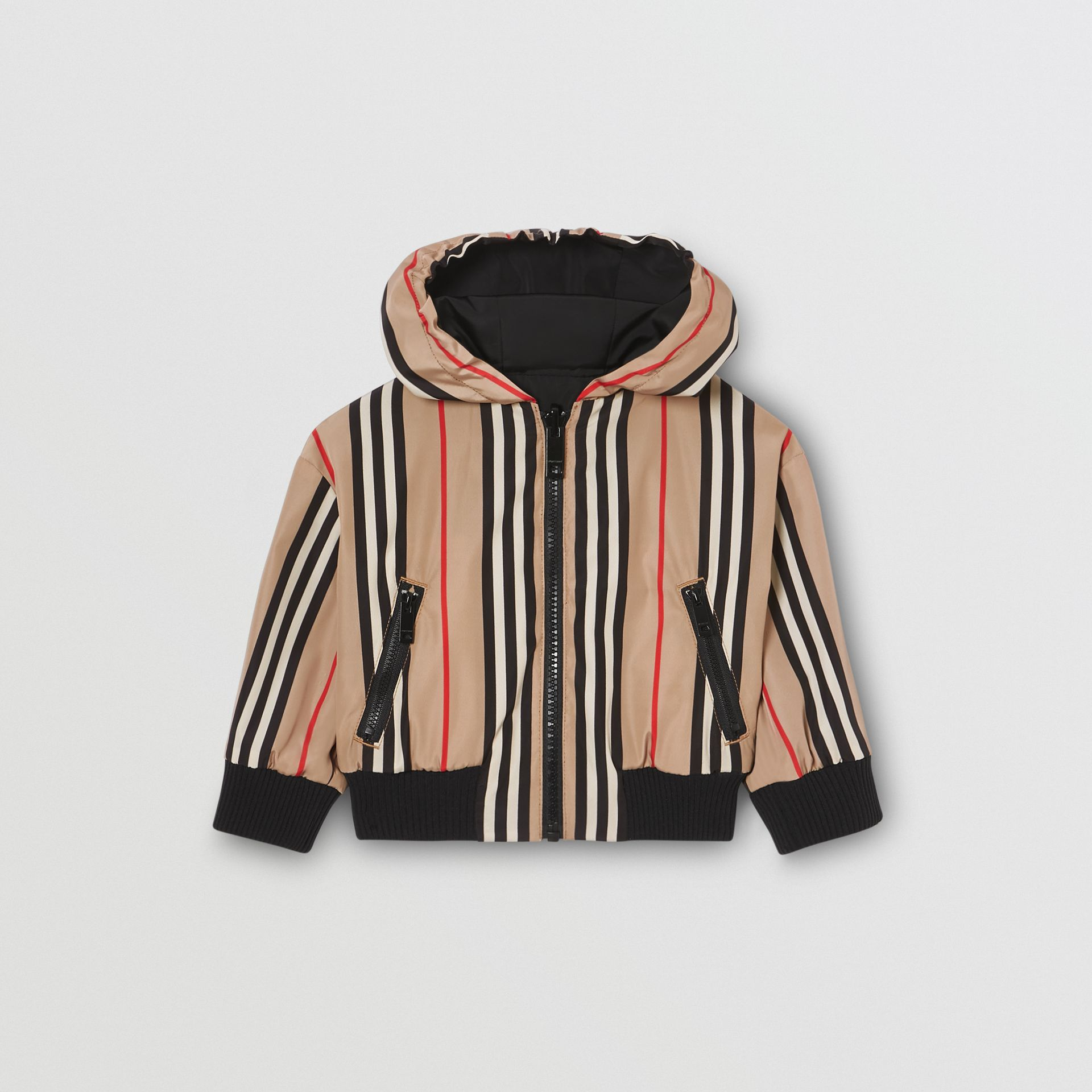 Reversible Icon Stripe Hooded Jacket in Black - Children | Burberry - gallery image 1