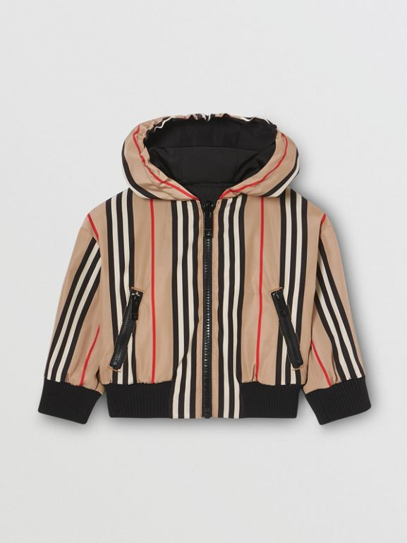 Reversible Icon Stripe Hooded Jacket in Black - Children | Burberry - cell image 1