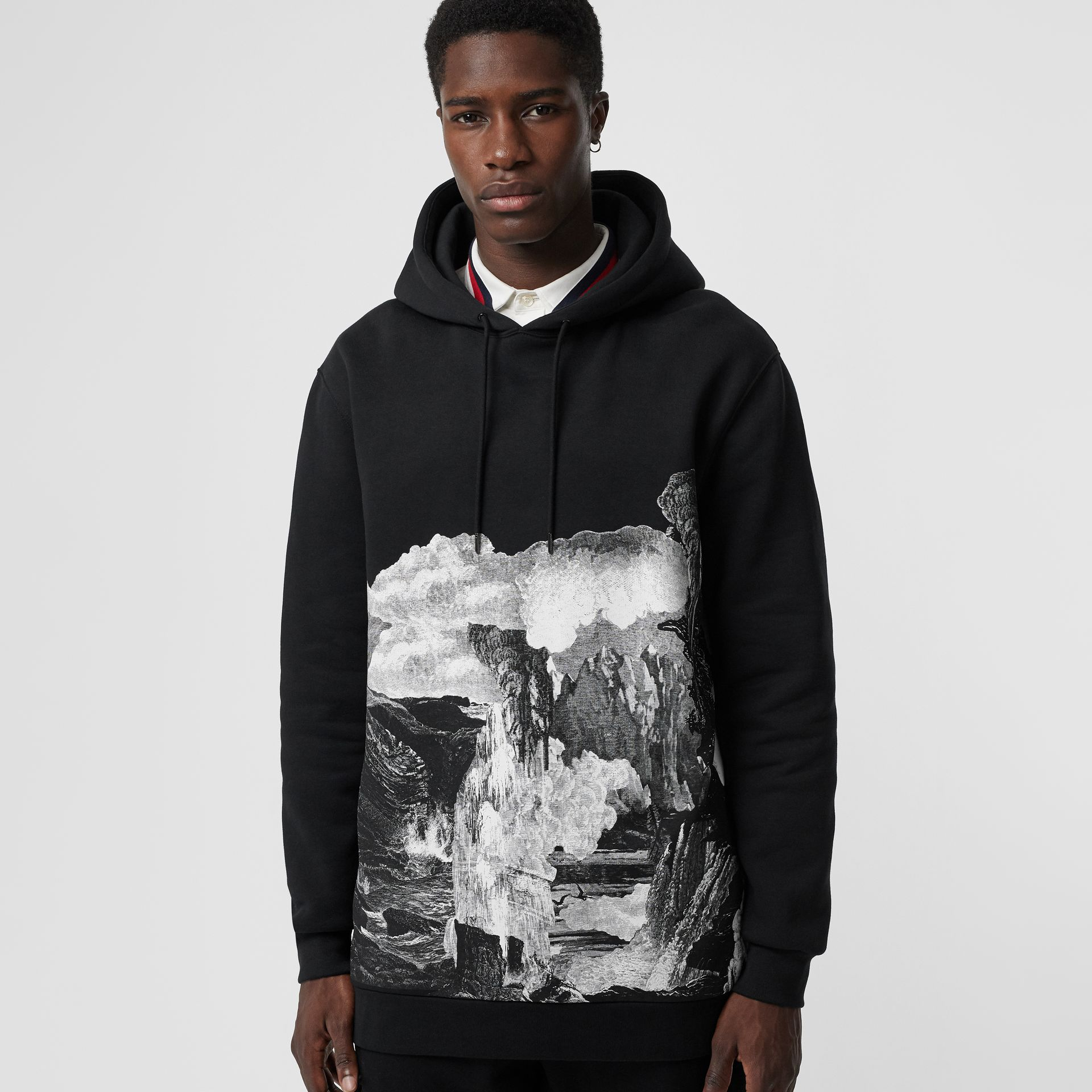 Dreamscape Print Cotton Blend Hoodie in Black - Men | Burberry Singapore - gallery image 4
