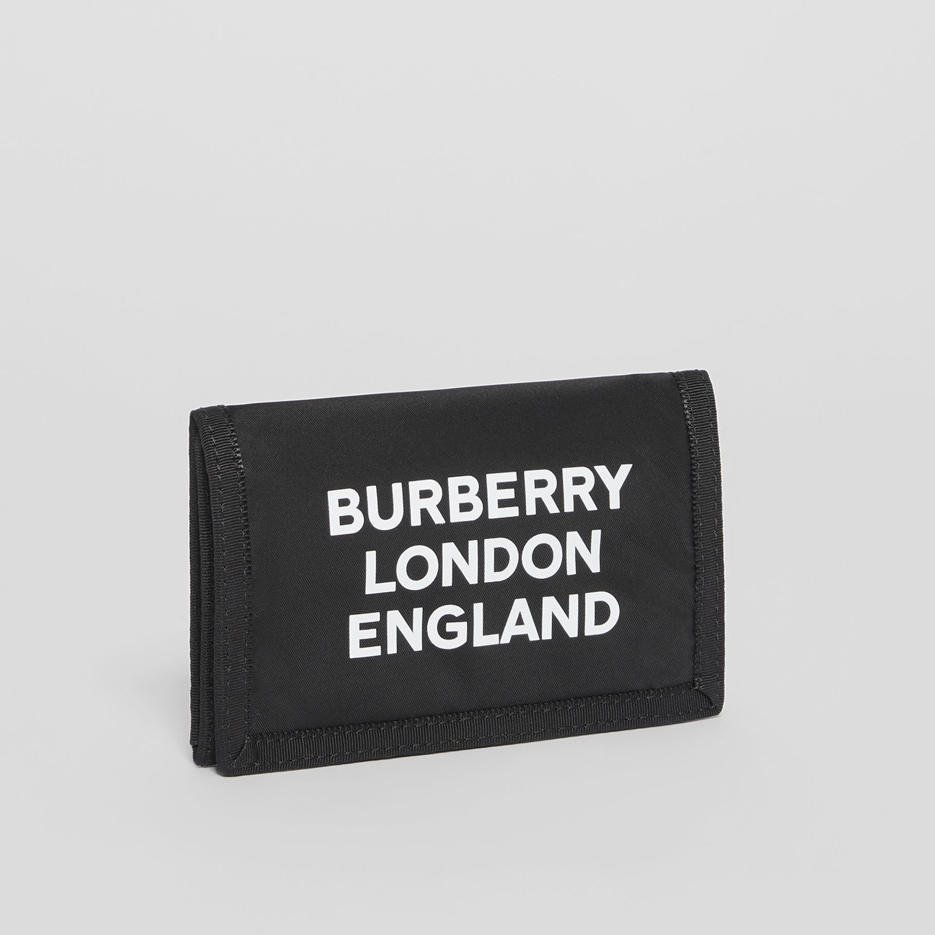 Logo Print Nylon Travel Wallet in Black/white - Men | Burberry - gallery image 3