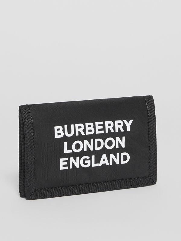 Logo Print Nylon Travel Wallet in Black/white | Burberry - cell image 3