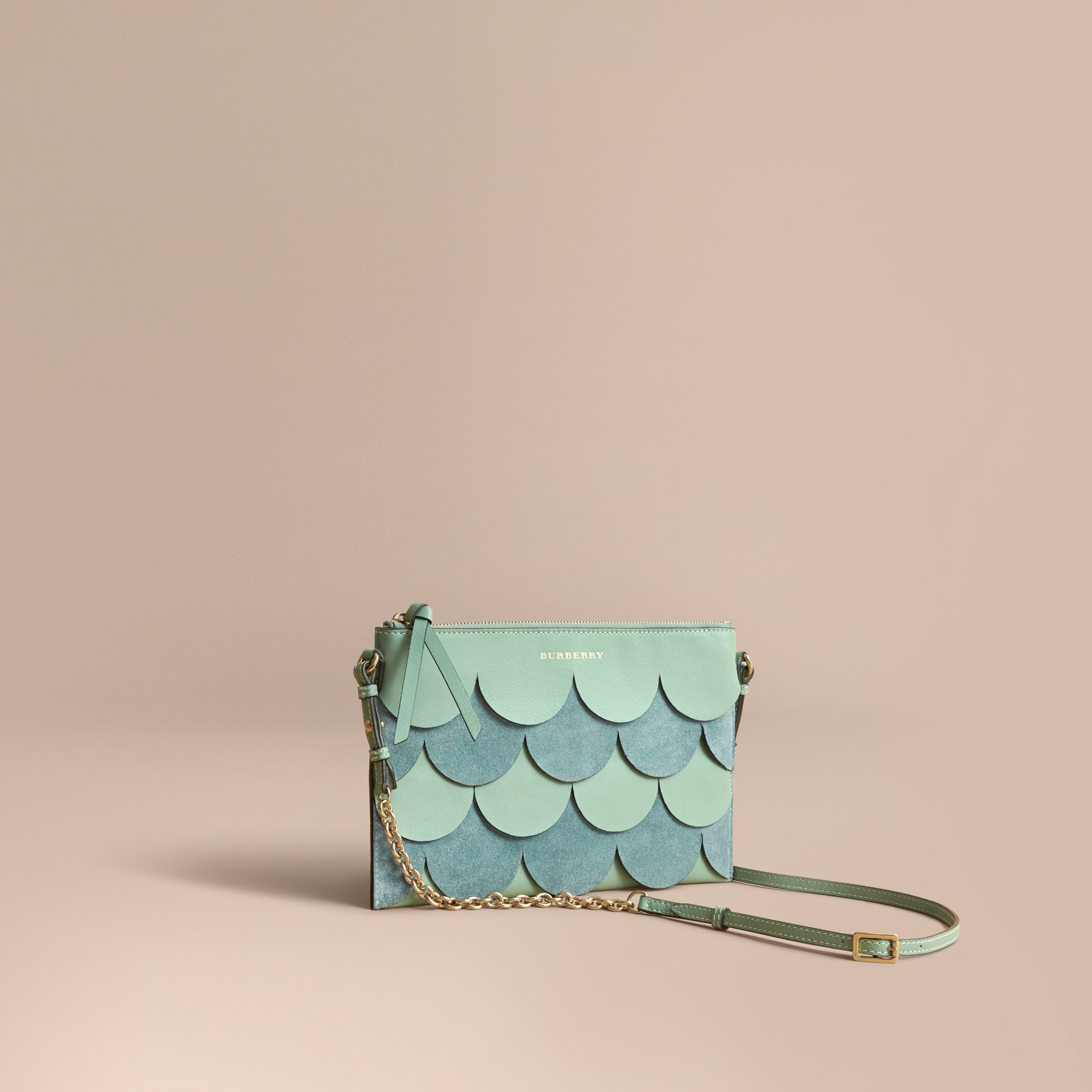 Two-tone Scalloped Leather and Suede Clutch Bag in Celadon Green - Women | Burberry - gallery image 1