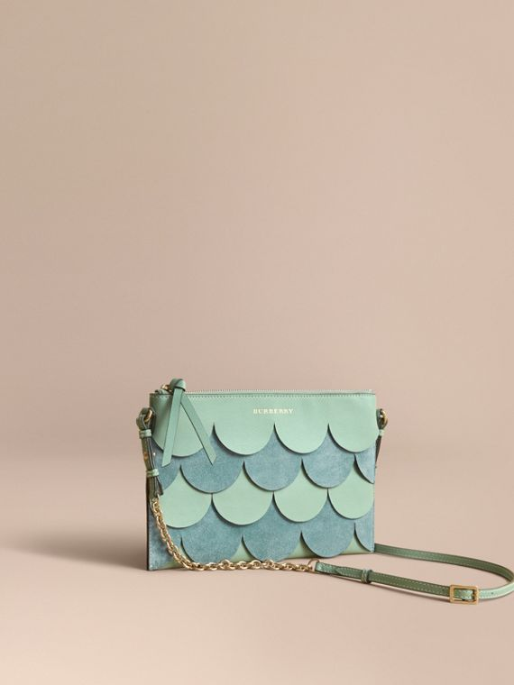 Two-tone Scalloped Leather and Suede Clutch Bag in Celadon Green
