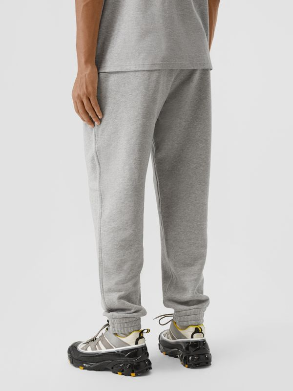 Contrast Logo Graphic Cotton Trackpants in Pale Grey Melange - Men | Burberry United Kingdom - cell image 2
