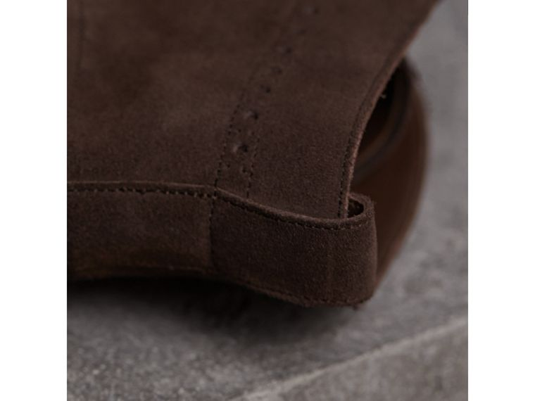 Brogue Detail Suede Desert Boots in Peat Brown - Men | Burberry - cell image 1