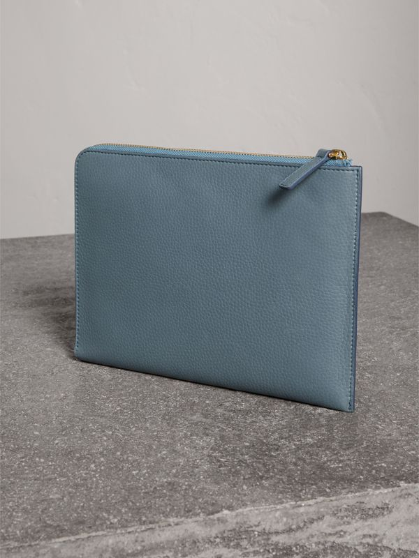Embossed Leather Ziparound Pouch and Coin Case in Dusty Teal Blue | Burberry - cell image 2