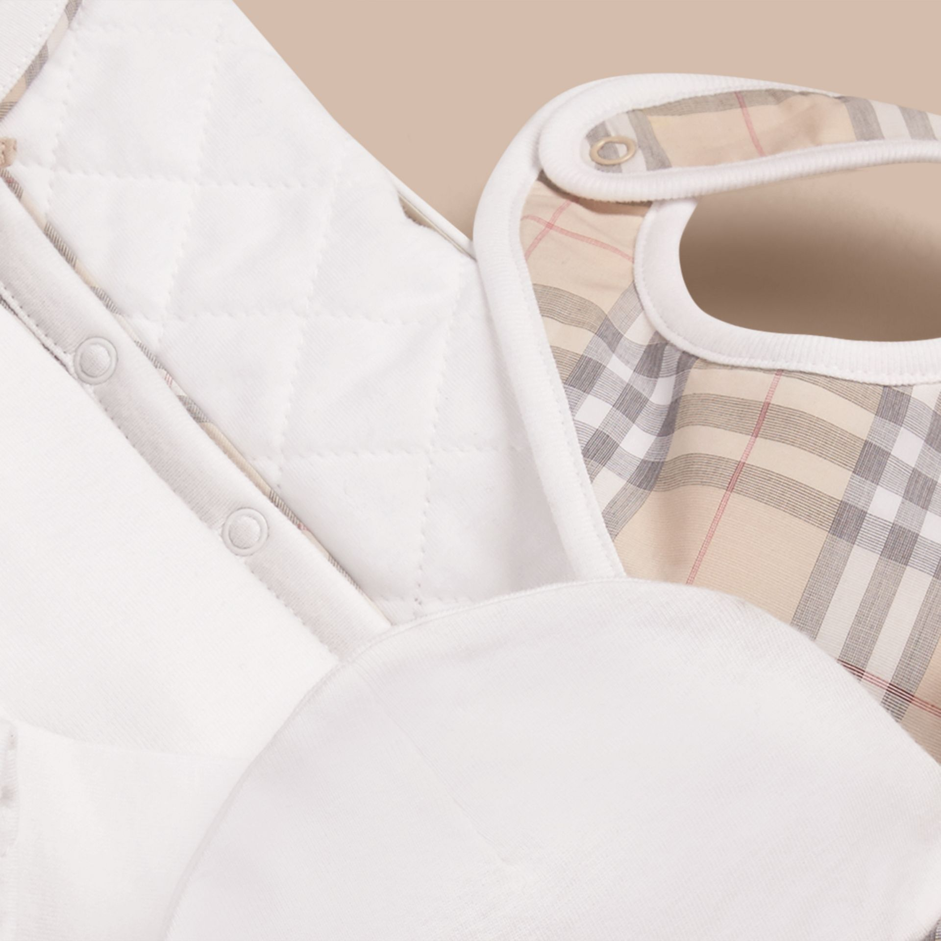 Cotton Four-piece Baby Gift Set in White - Girl | Burberry - gallery image 2