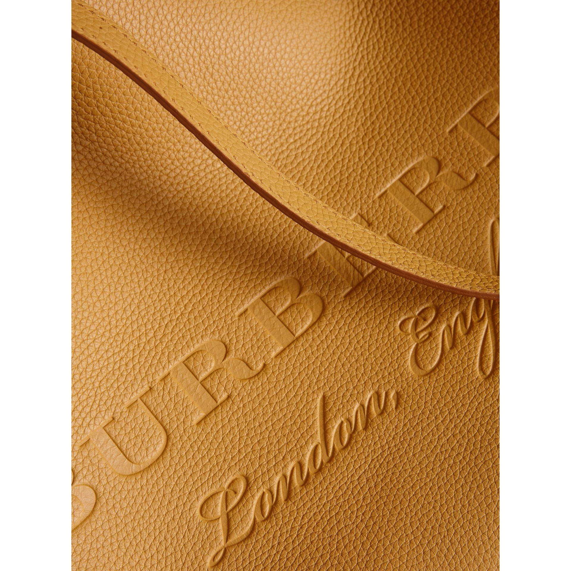 Embossed Leather Tote in Ochre Yellow | Burberry - gallery image 1