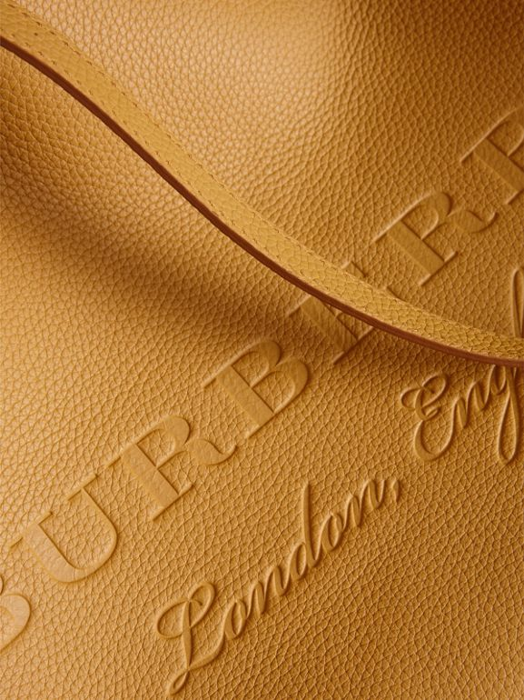 Embossed Leather Tote in Ochre Yellow | Burberry - cell image 1