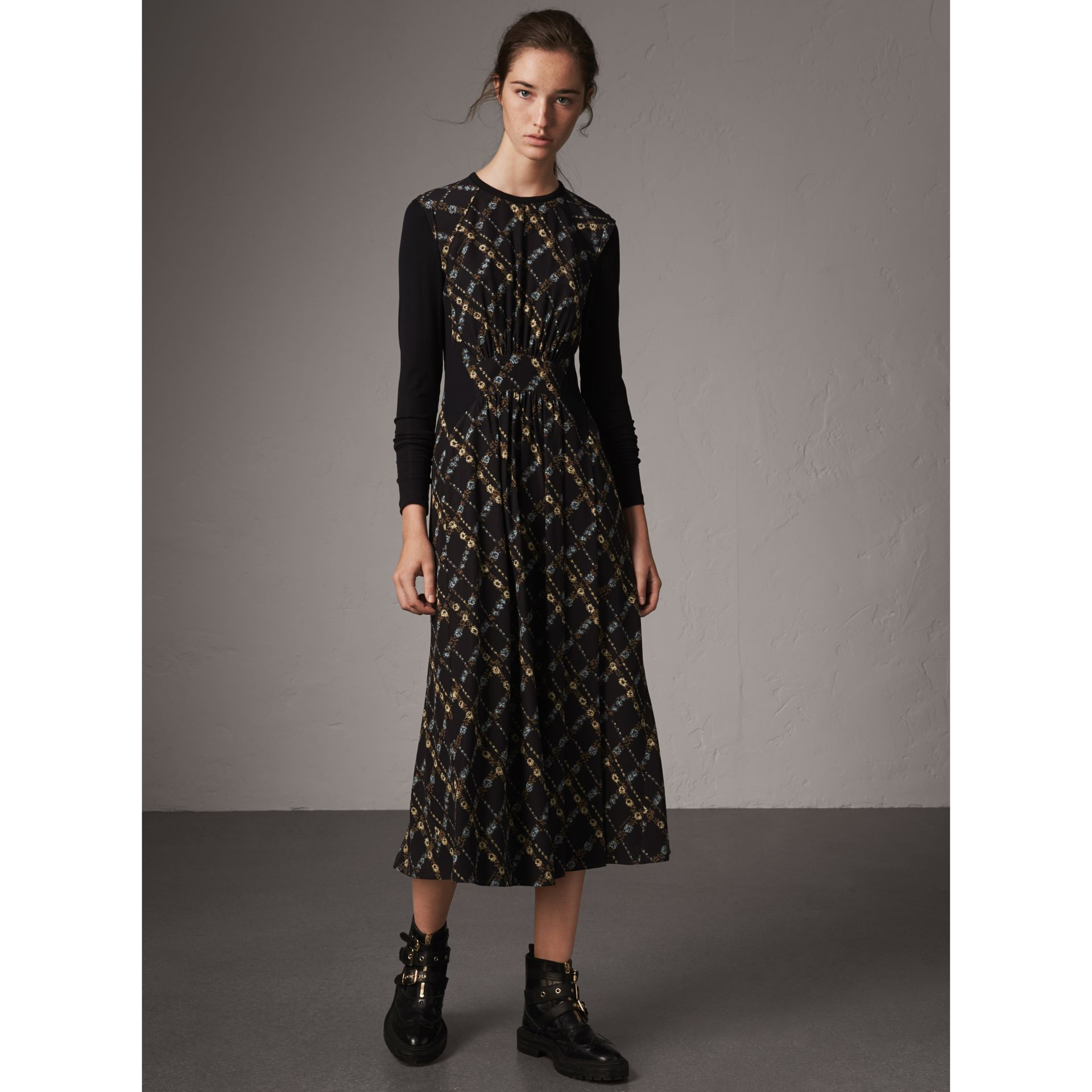 Long-sleeve Lattice Floral Print Silk Gathered Dress in Black - Women | Burberry - gallery image 1