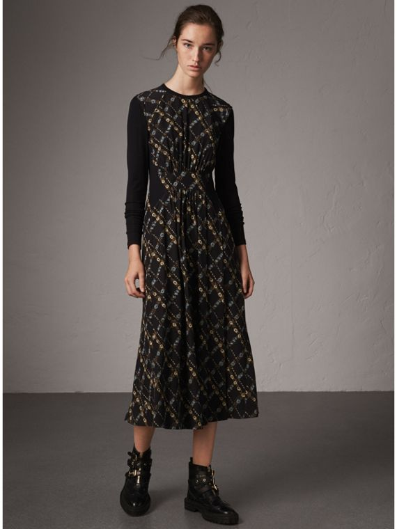 Long-sleeve Lattice Floral Print Silk Gathered Dress in Black