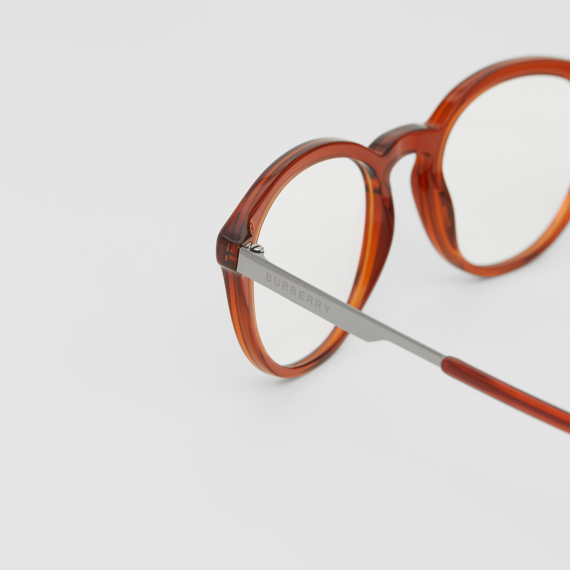 Round Optical Frames in Amber - Men | Burberry - gallery image 1