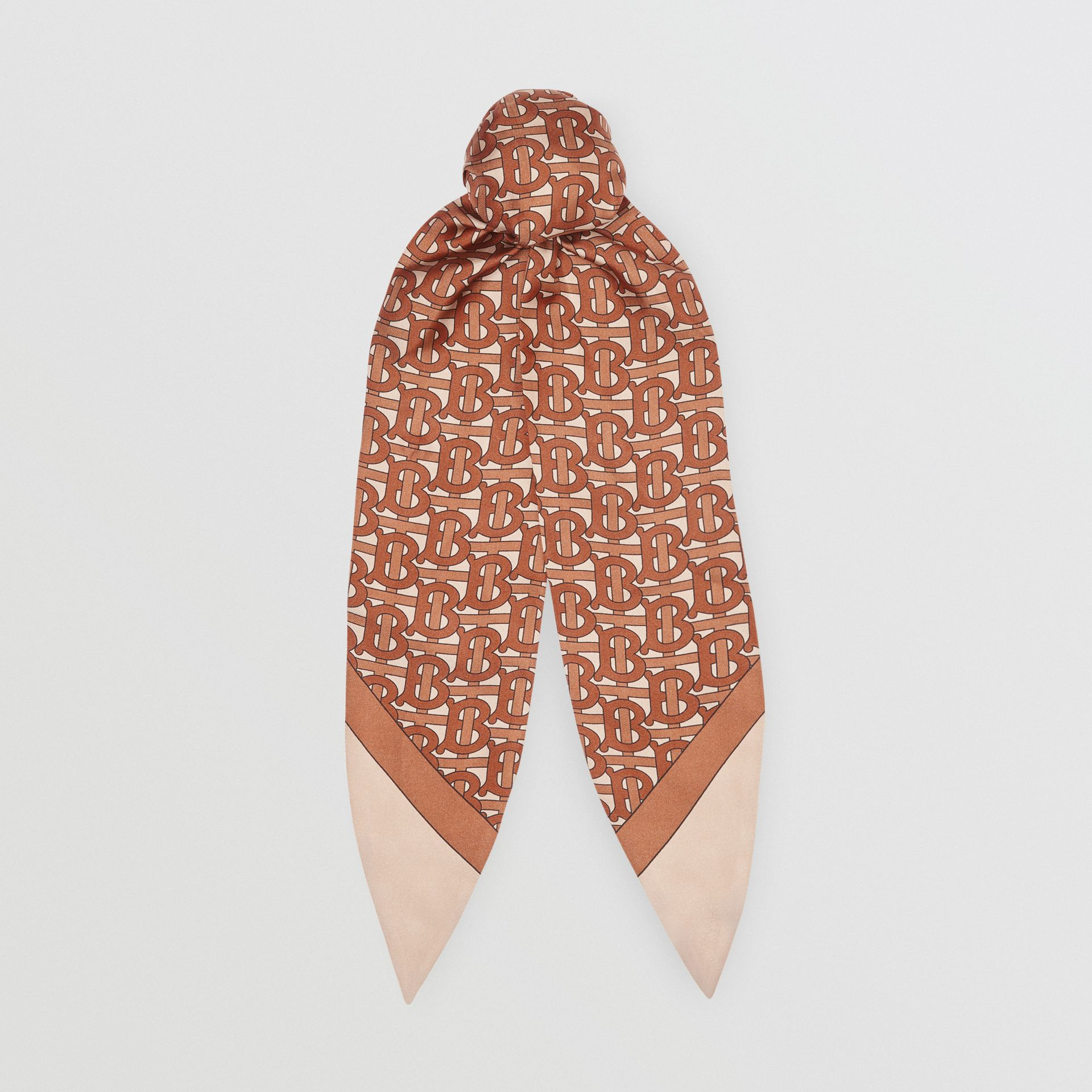 Monogram Print Silk Hair Scarf in Brown - Women | Burberry - gallery image 0
