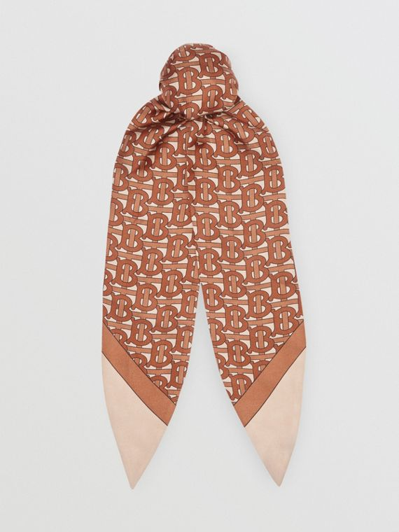 Monogram Print Silk Hair Scarf in Brown