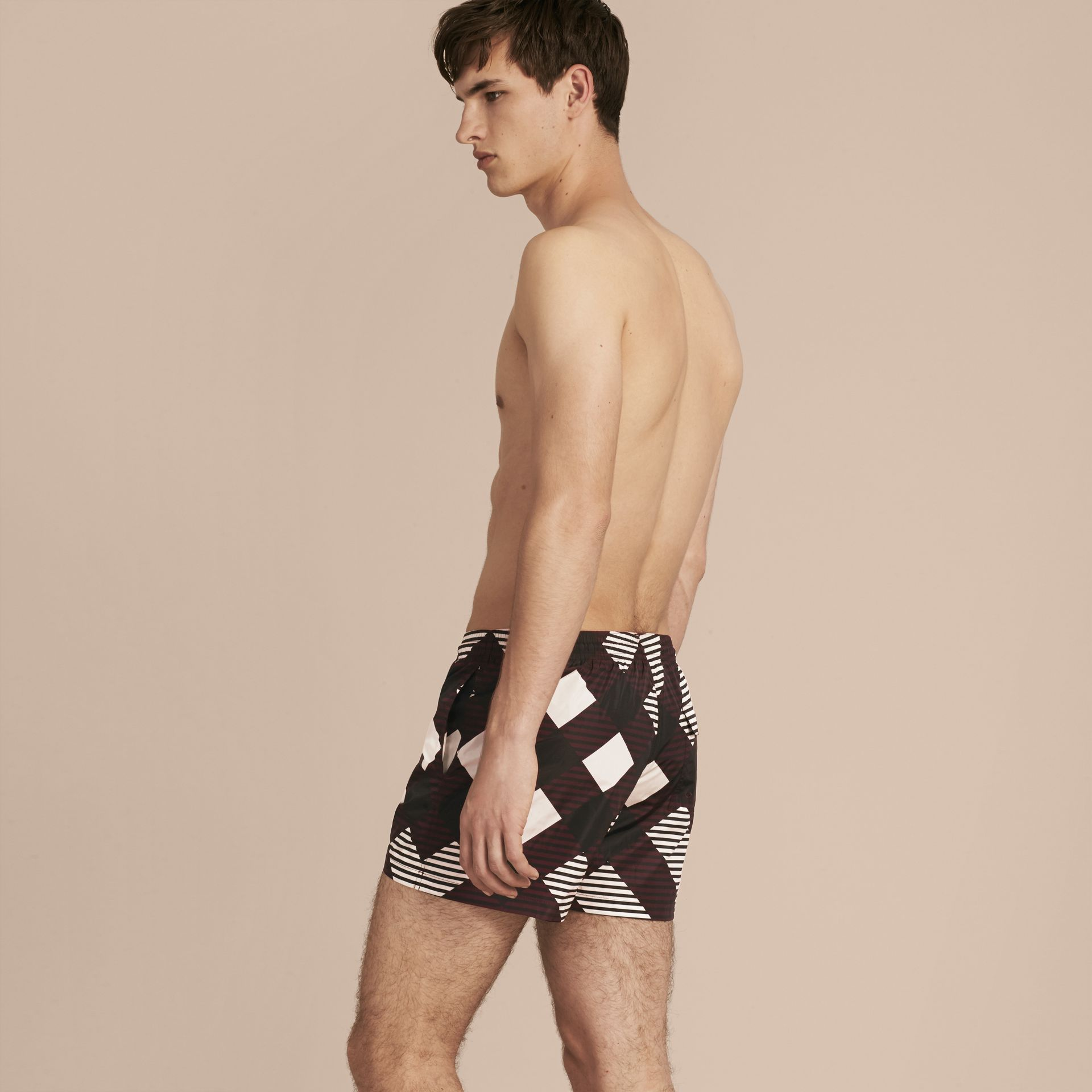 Deep claret Abstract Check Swim Shorts - gallery image 3