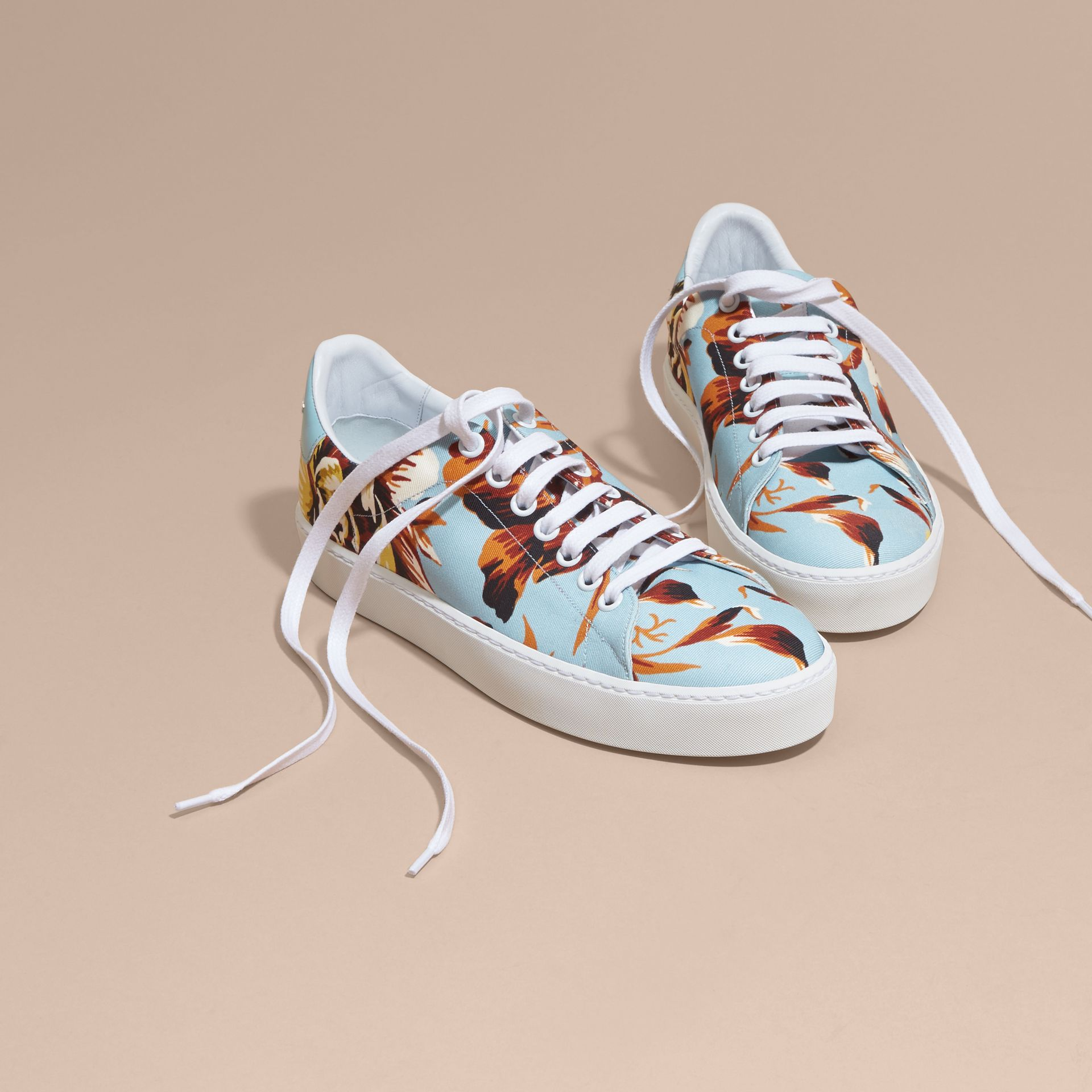 Peony Rose Print Canvas and Leather Sneakers Vibrant Orange - gallery image 3