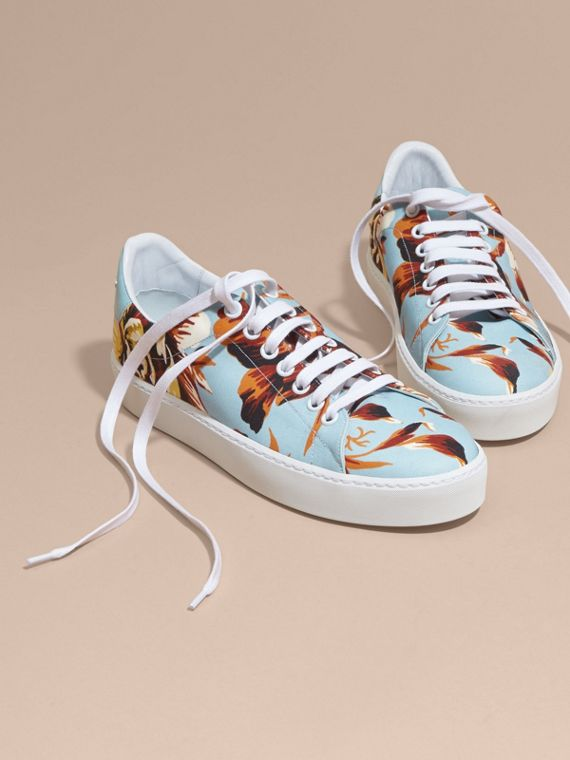 Peony Rose Print Canvas and Leather Sneakers Vibrant Orange - cell image 2