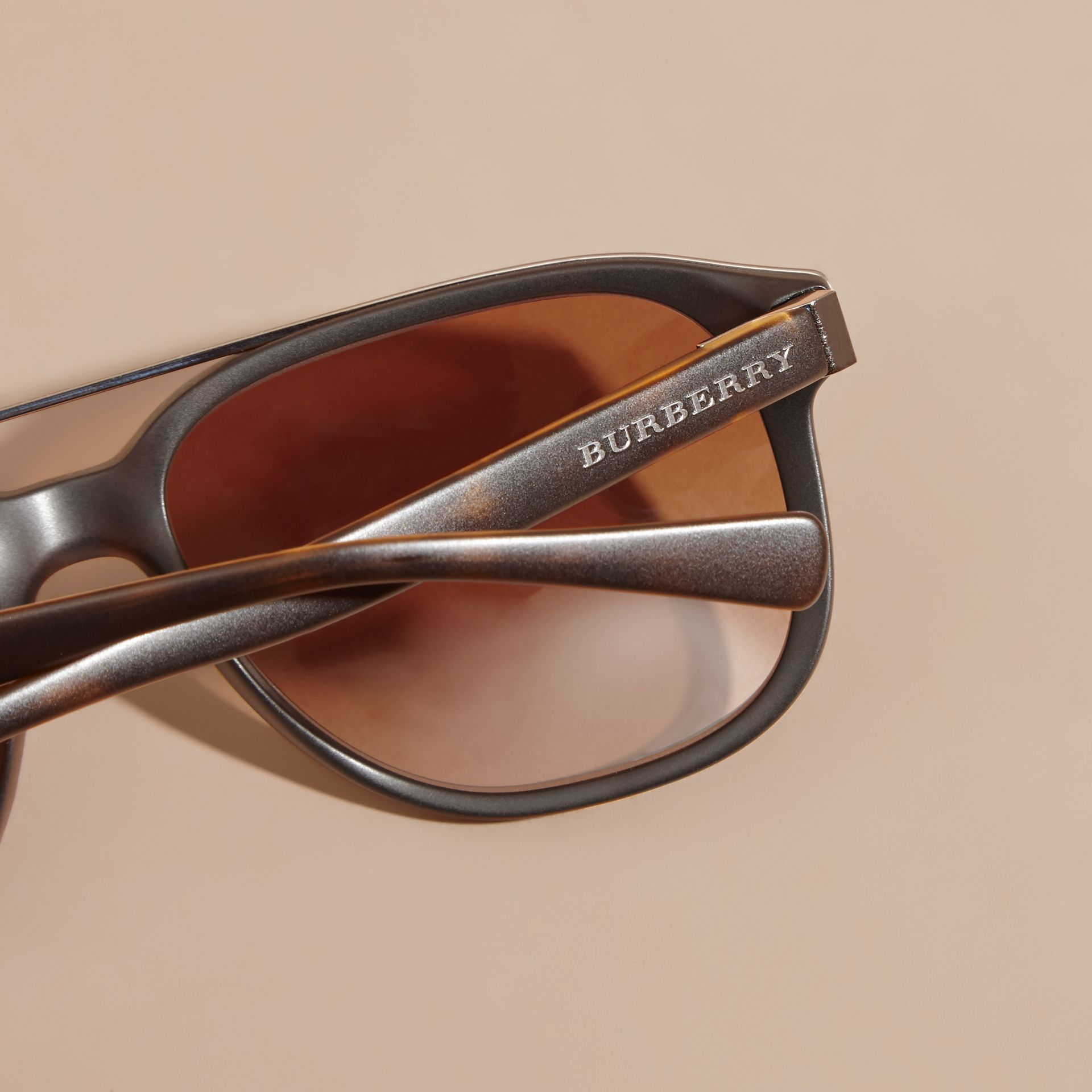 Square Frame Sunglasses in Tortoise Shell - Men | Burberry - gallery image 2