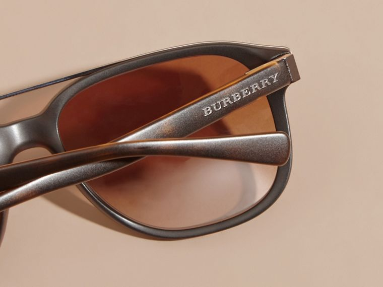 Square Frame Sunglasses in Tortoise Shell - Men | Burberry - cell image 1