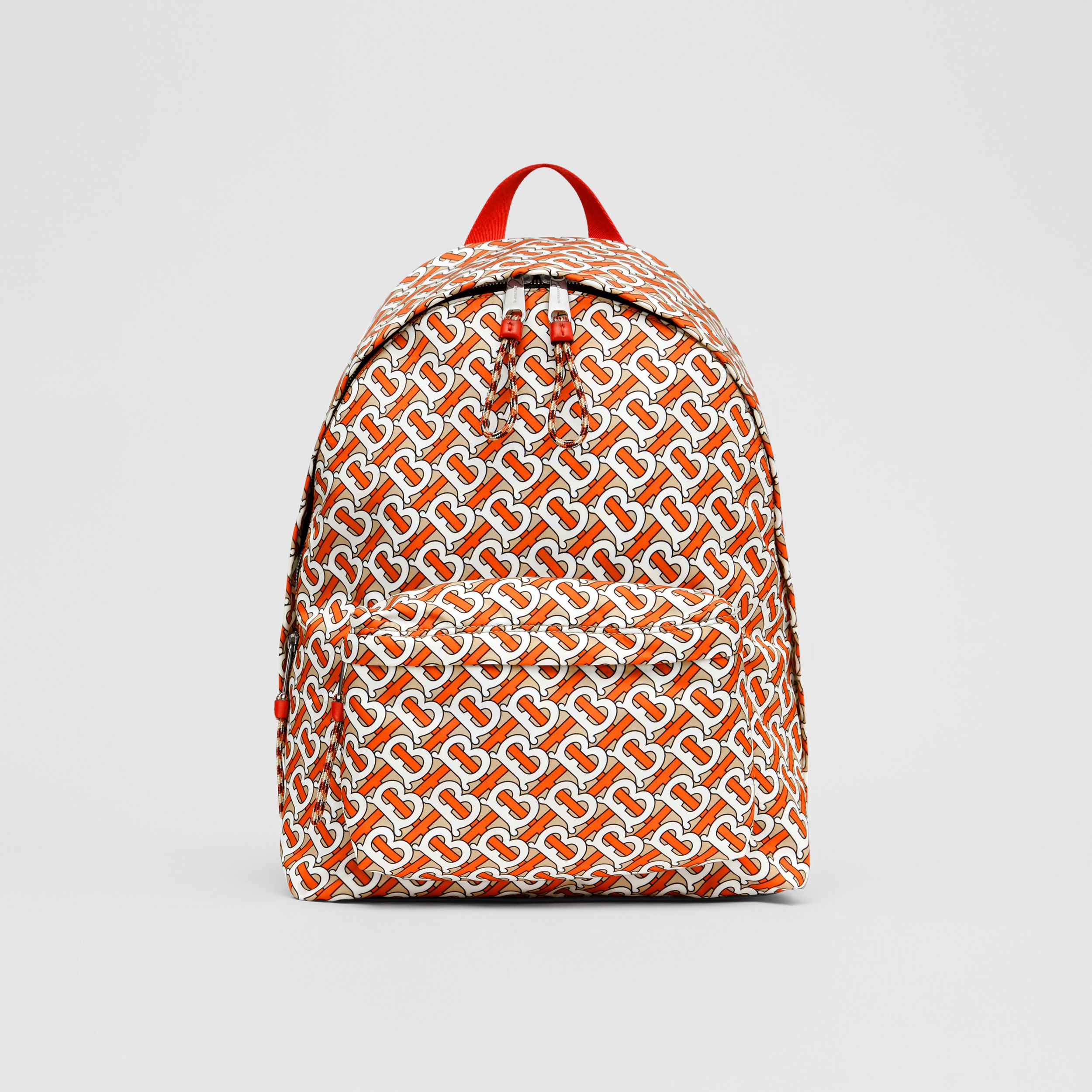 Monogram Print Nylon Backpack in Vermillion | Burberry - 1